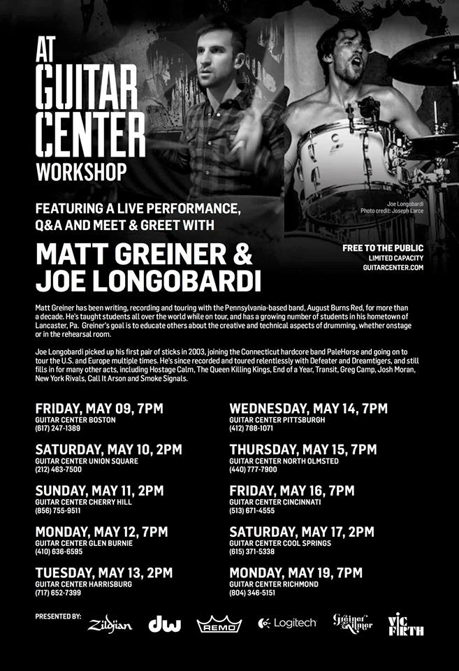 guitar center workshop to feature matt greiner and joe longobardi hm magazine. Black Bedroom Furniture Sets. Home Design Ideas