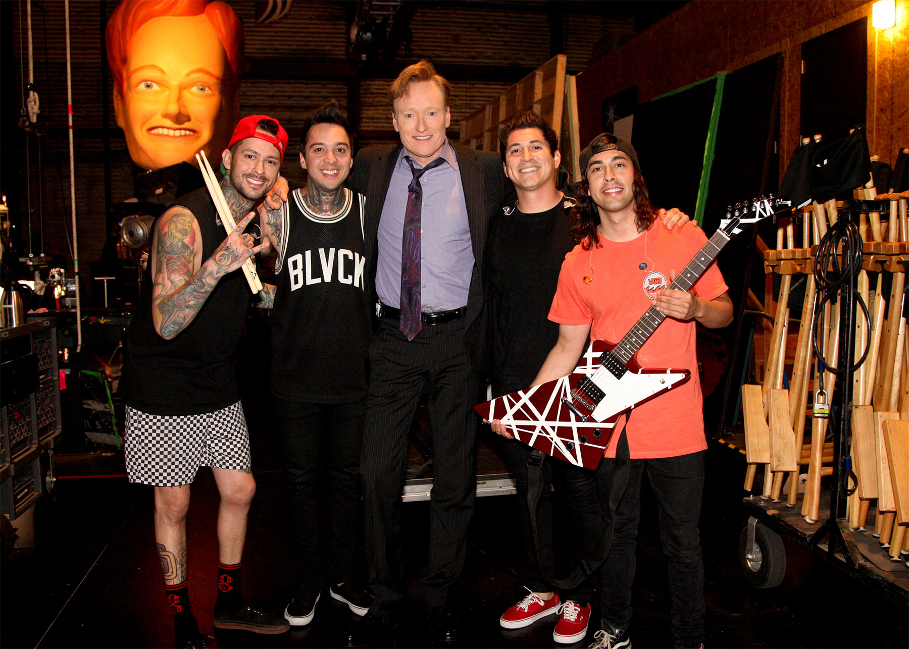 Pierce the Veil on the set of Conan O'Brien; Photo by Team Coco