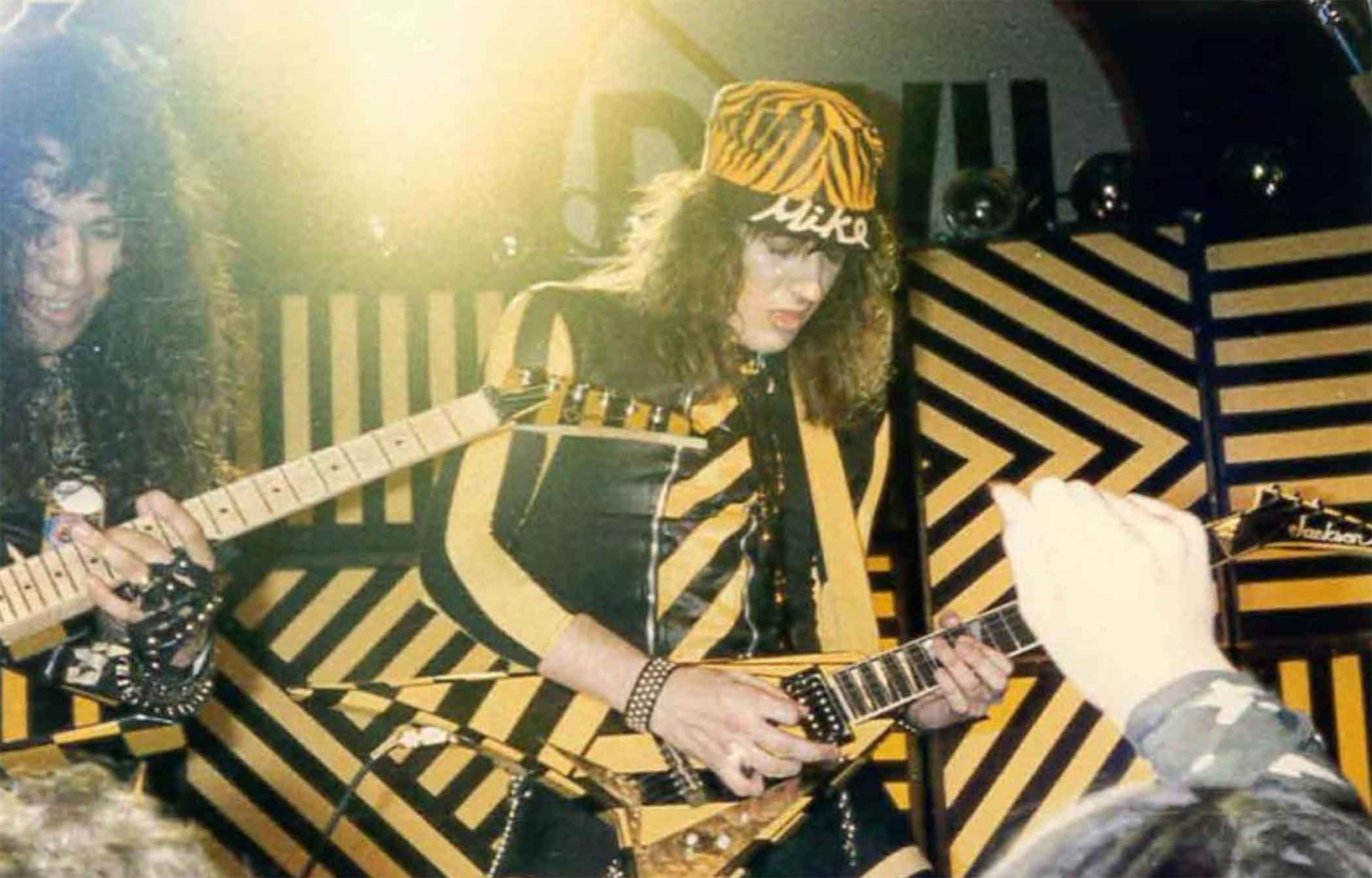 Michael Sweet, center, with Oz Fox of Stryper in Austin, TX in 1985